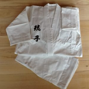 White Hakama with Ryu Te embroidery