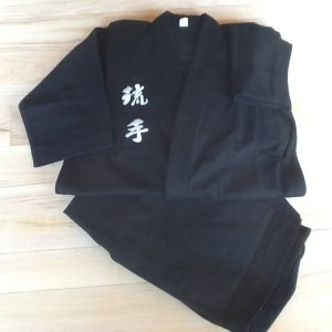 Black Hakama with Ryu Te embroidery